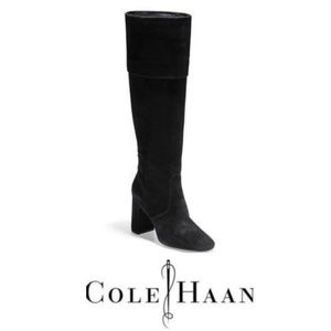 NEW! Cole Haan Black Tess Suede Cuff Boots 8